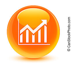 Statistics icon glassy orange round button