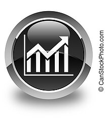 Statistics icon glossy black round button