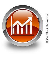 Statistics icon glossy brown round button