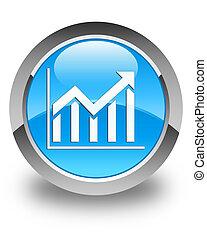 Statistics icon glossy cyan blue round button