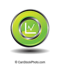Statistics icon glossy green button