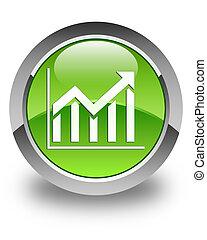 Statistics icon glossy green round button