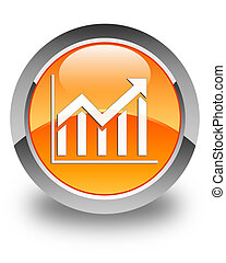 Statistics icon glossy orange round button