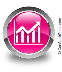 Statistics icon glossy pink round button