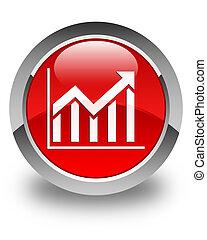Statistics icon glossy red round button