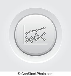 Statistics Icon. Grey Button Design.