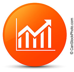 Statistics icon orange round button