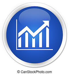 Statistics icon premium blue round button