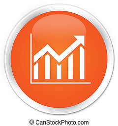 Statistics icon premium orange round button