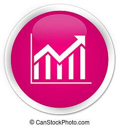 Statistics icon premium pink round button