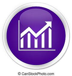 Statistics icon premium purple round button
