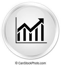 Statistics icon premium white round button