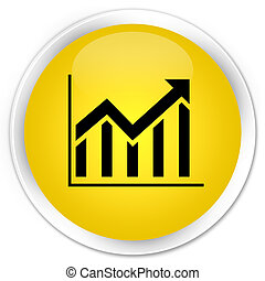 Statistics icon premium yellow round button