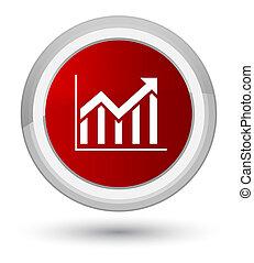 Statistics icon prime red round button