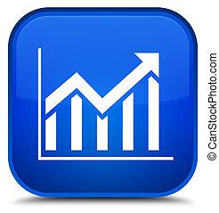 Statistics icon special blue square button