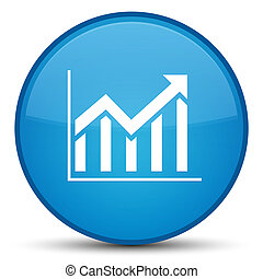 Statistics icon special cyan blue round button