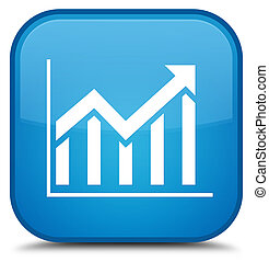 Statistics icon special cyan blue square button