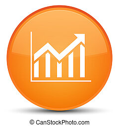Statistics icon special orange round button