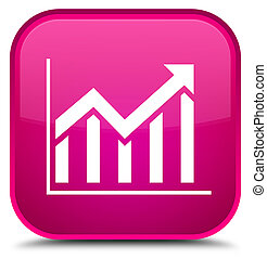 Statistics icon special pink square button
