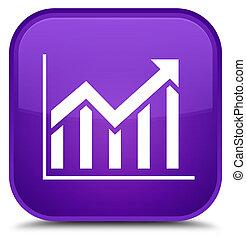 Statistics icon special purple square button
