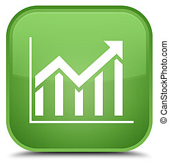 Statistics icon special soft green square button