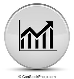 Statistics icon special white round button