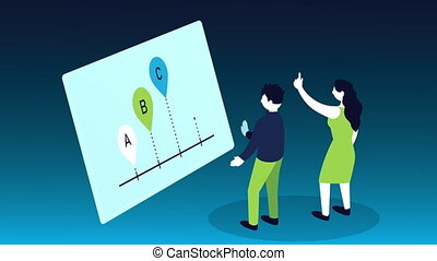 statistics infographic data animation with couple and pins ...
