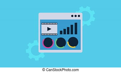 statistics infographic in webpage template ,4k video animation