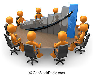 3D people doing a meeting on a table with a large graph.