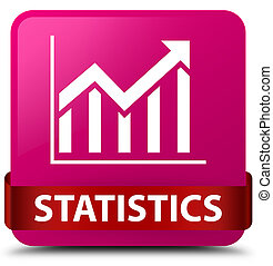 Statistics pink square button red ribbon in middle