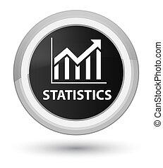 Statistics prime black round button