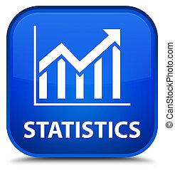 Statistics special blue square button