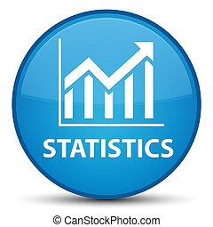 Statistics special cyan blue round button