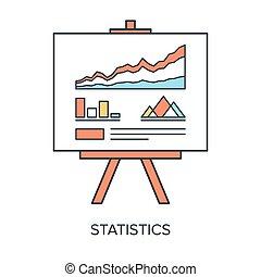 Vector illustration of statistics flat line design concept.