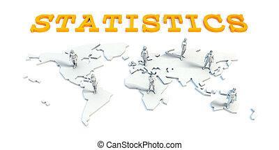 statistiek, concept, met, handel team