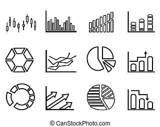 statistiek, set, schets, zakelijk, pictogram