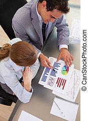 statistiek, zakelijk, werkende mensen , boven, aanzicht