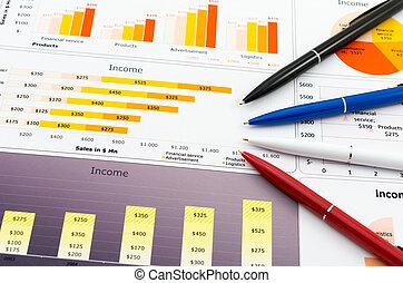 statistik, farbe, verkäufe, pencil's, schaubilder, bericht, mehrere