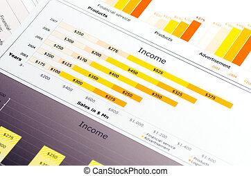 statistik, gefärbt, tabellen, verkäufe, schaubilder, bericht