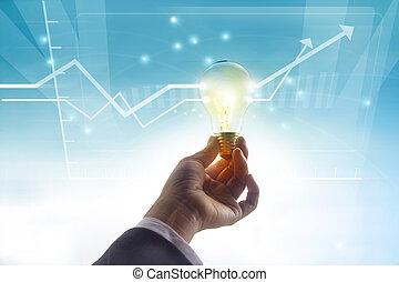 statistik, schaubild, symbol, vergangenheit, idee, begriff, glühlampe, höher