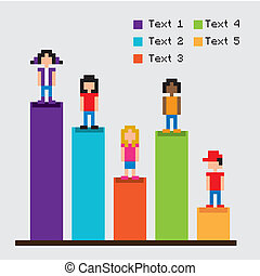 statistiques, barres, pixel, conception