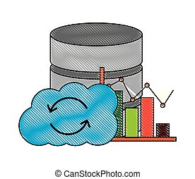 statistiques, centre, calculer, base données, diagramme, nuage
