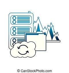 statistiques, centre, calculer, base données, dossier, nuage