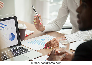 statistiques, fonctionnement, équipe, ensemble, multiracial, b, analyse, données