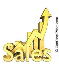 statistiques, graphique, ventes, or
