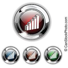 statistiques, icône, button., vecteur, il
