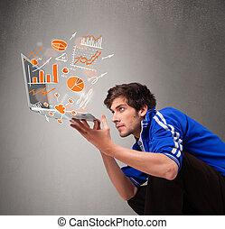 statistiques, ordinateur portable, graphiques, tenue, beau, homme