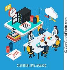 statistisch, isometric, data, analyse, achtergrond