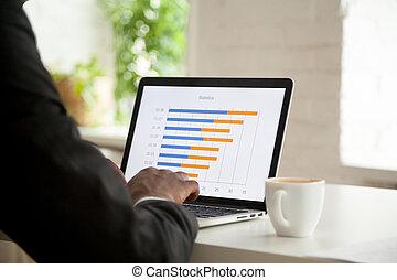 statisztika, ábra, laptop, ellenző, terv, elemzés, üzletember