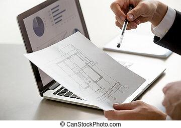 statisztika, hím, feláll, ellenző, terv, kitart sűrű, terv, kéz